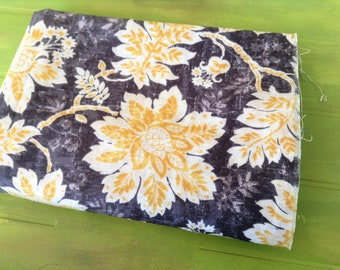 Waverly Navy Floral Drapery Fabric- Cotton Duck Waverly - One Yard Navy Blue and Yellow Floral Fabric
