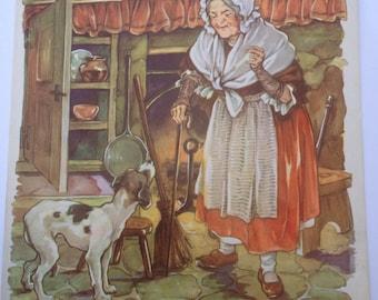 Old Mother Hubbard - A Clara M Burd Vintage Book Print 1930s Flipside Peter Peter Pumpkin Eater