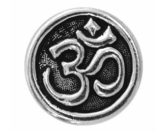 2 TierraCast Om Symbol 5/8 inch ( 16 mm ) Pewter Buttons Silver Plated
