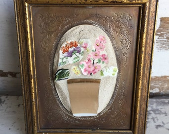 Broken China Mosaic Picture - Flower Bouquet - One of a Kind 4 x 5 Tiny Art