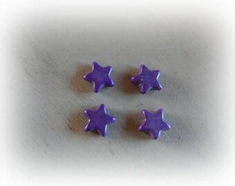 4 beads Purple Star, howlite, 14 mm