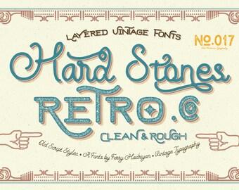 50% Off Hard Stones - Display Font - Retro Font - Vintage Font -Custom Font - Logo Font - Script - Font - Fonts - Font Family