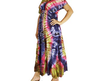 New Tropical ColorfulTie Dye Cotton Boho Hippie Maxi Kimono Summer Beach Sundress (TD 35)
