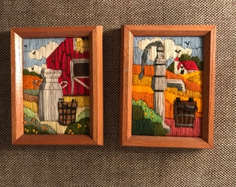 set of landscape needlepoints