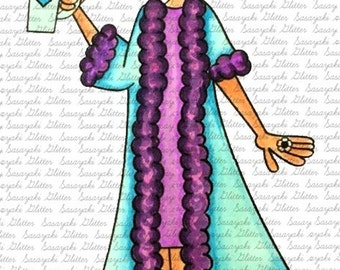 Lady Bell Loves Coffee Digital Stamp by Sasayaki Glitter