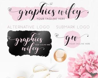 Mauve Logo Design Kit, Heart Letters Logo Design, Brush Logo Design, Metallic Black Foil Logo Design, Glitter Premade Logo, Branding Kit