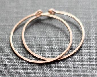 Rose Gold Hoop Earrings, Rose Gold Hoops, Modern Minimal Earrings, 1 Inch Hoops