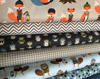 Fabric by the Yard, Fat Quarter Bundle, Campsite Critters, Fancy Fox Fabric Quilt, Burly Beaver, Blue Nursery, Bundle of 8, Choose the Cuts