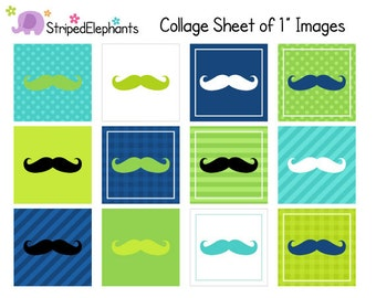 Mustache Digital Collage Sheets - Blue and Green - 1 Inch Square Images - Instant Download - Commercial Use
