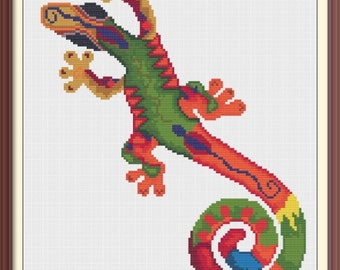 Lizard in Vibrant Colors Modern Counted Cross Stitch Pattern PDF Chart Instant Download Colorful Design in Orange, Green, Blue, Yellow