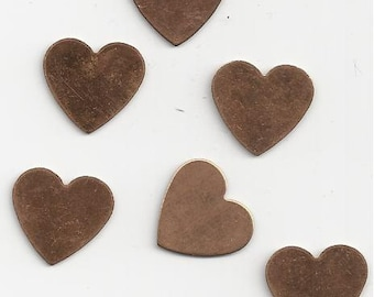 6 Small Vintage Copper HeArt Blanks