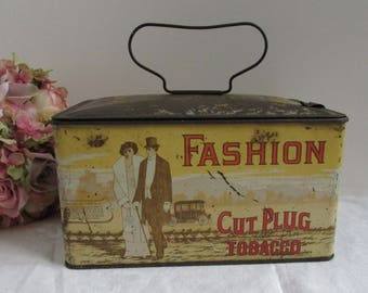Antique Fashion Cut Plug Smoking Tobacco Tin Lunchbox Can