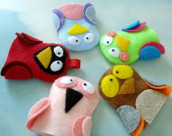 Bird Felt Finger Puppets Sewing Pattern - PDF ePATTERN for Owl, Cardinal, Flamingo, Bluebird & Parrot and Carrying Case