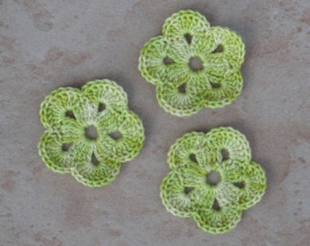 set of 3 lime green flower 5 petals crochet