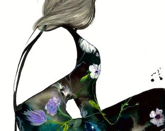 A Dark Romance, print from original mixed media fashion illustration by Jessica Durrant