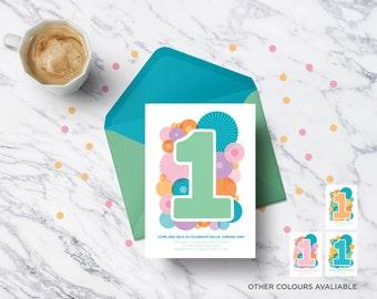 First birthday paper lantern printable personalised invitation | Birthday party | Kid's birthday invites