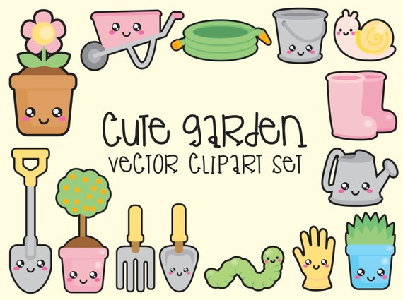 Nice Premium Vector Clipart   Kawaii Gardening Clipart   Kawaii Garden Clip Art  Set   High Quality Vectors   Instant Download   Kawaii Clipart From ...
