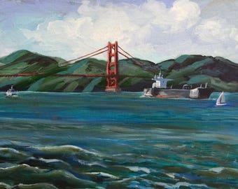 Bridge Traffic/Golden Gate Bridge View from Fort Mason Original Acrylic Painting