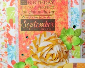 September Birthday Card - Birthday Card - Happy Birthday Card - Autumn Birthday Card