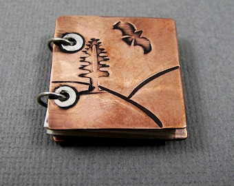 Copper Book Pendant - Mountain Scene Tree and Soaring Bird - Copper and Sterling Silver