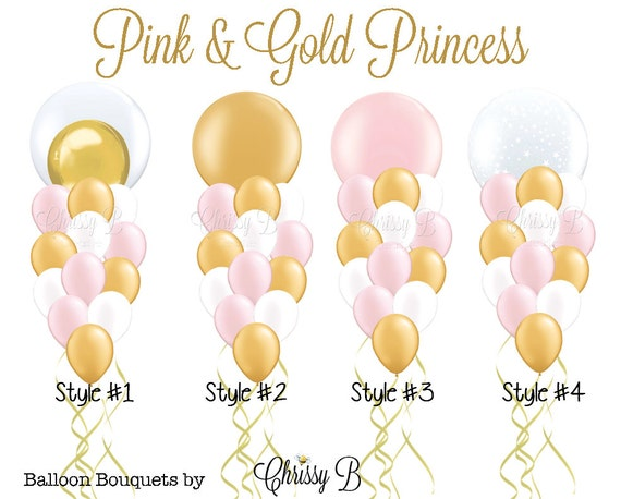 pink and gold princess giant balloon bouquet perfectly pretty rh etsy com Balloons Clip Art Printable Party Balloons Clip Art