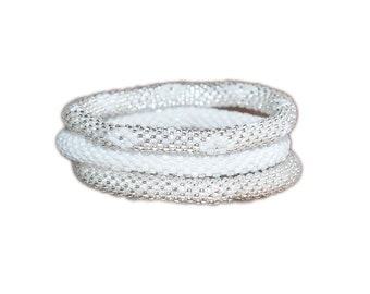 Chiffon White and Silver Crocheted Beaded Bracelets Set, Seed Beads, Handmade in Nepal