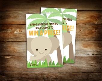 Diaper Raffle Tickets - Jungle Baby Shower - Elephant Baby Shower - Elephant Baby Shower Diaper Raffle Ticket - 0005-N