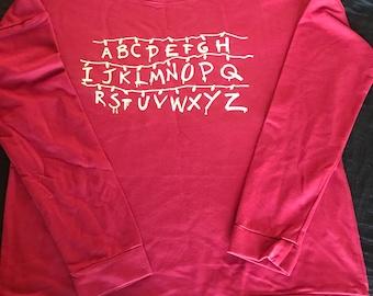 Stranger Things Inspired Alphabet Sweater/Tee/Tank, Alphabet Christmas Lights, Upside Down Alphabet Stranger Things Sweater/Tee/Tank