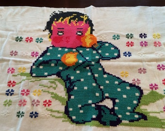 Vintage Pillowcase, Embroidered, Baby in PJs, Sweet