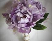 Purple peony bridal bouqu...