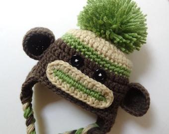Newborn Crochet Sock Monkey Hat, Knit Hat, Baby Boy Baby Girl, Brown, Green, Photo Prop