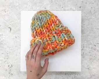 Chunky Hat Milo [orange/green] - Merino Wool - Bulky Knit Hat - Helsinki Hat - Merino Wool Hat - Merino Wool Beanie