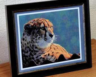 Cheetah, Framed print of a Oil painting, gift for him gift for her, big cat art, wildlife painting,Fine art print
