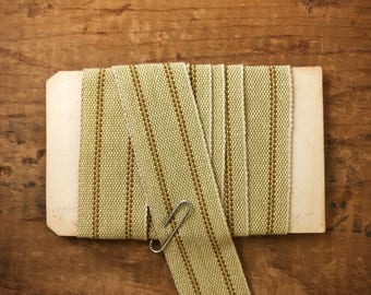One Inch Rustic Striped Linen Cotton Ribbon (1yrd.) T25
