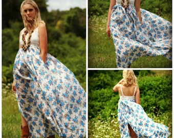 Ready to ship Bohemian maxi dress crochet cotton boho dress halter gypsy dress peasant dress floral long dress hippie dress free spirit