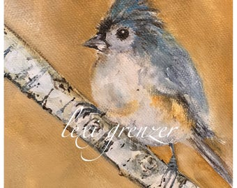 Tufty - Tufted Titmouse - Original Watercolor and Acrylic Painting