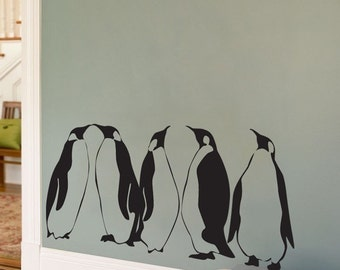 Penguins - Set of 5 - Wall Decals - Your choice of color