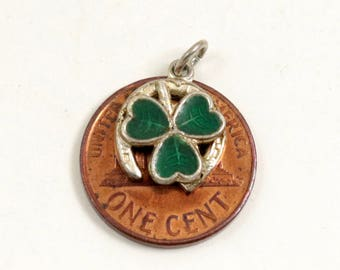 Vintage Sterling Silver and Green Enamel Lucky Shamrock & Horseshoe Charm Pendant, Signed WBs, Ward Brothers