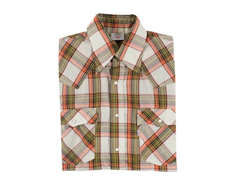 Levi's Western Plaid Shirt Pearl Snap Buttons Yolk Details USA