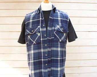 Vintage Flannel Sleeveless Checked Shirt Size - Medium