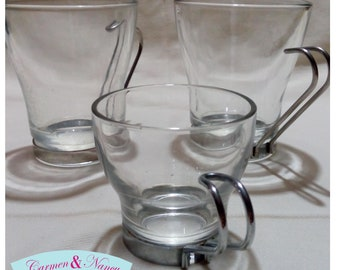 Set of 3 coffee cups Fidenza Oslo Italian Cappuccino Glass With Metal Handles