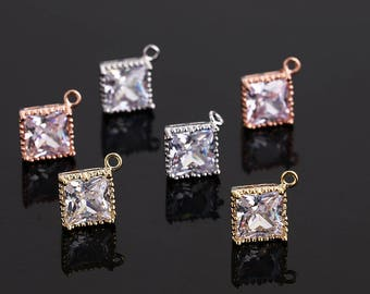 3D pave square charms/pendants/earrings,gold/rose gold/silver plating over brass CZ square charms,rhinestone square charms