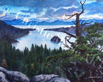 Set of 5 Art Print Cards Lake Tahoe Emerald Bay blank embossed Greeting Cards Note Card Framable art by artist Christie Marie E Russell ©