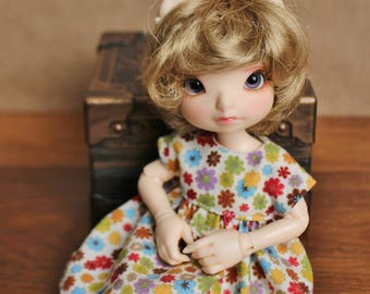 Bright and Bold Posies Dress for Realfee and Blythe Dolls | Gold, Cream, and Rainbow Floral Doll Dress for Realfee, Lati Yellow SP, & Blythe