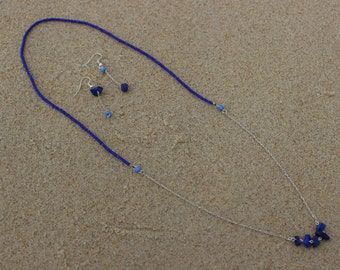 Set of Lapis lazuli necklace and earrings