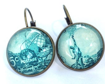 1964 World's Fair US Stamp - Queens, NY, Postage stamp jewelry - Vintage Postage Stamp Earrings - French clip earrings in antique bronze