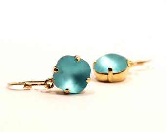 Matte Turquoise Crystal Dangle Earrings Classic Sparkling Teal Blue Etched Solitaire Swarovski Dangle Sterling Silver 14k Rose Gold Filled