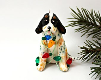 Figurine d'ornement de Noël BlueTick Coonhound porcelaine avec lumières