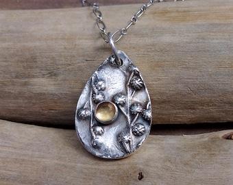 Fine Silver Botanical and Citrine Pendant