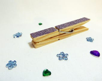 Decor pegs, tags, photo holder pegs, glitter, 5 in a pack